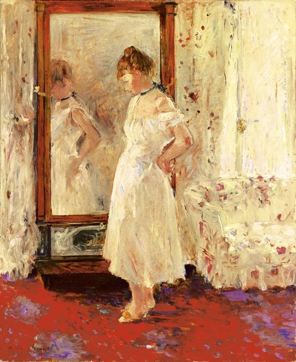 Berthe Morisot, The Cheval Glass (1876). Oil on canvas, 64 x 54 cm. Museo Thyssen-Bornemisza, Madrid. © Museo Thyssen-Bornemisza, Madrid