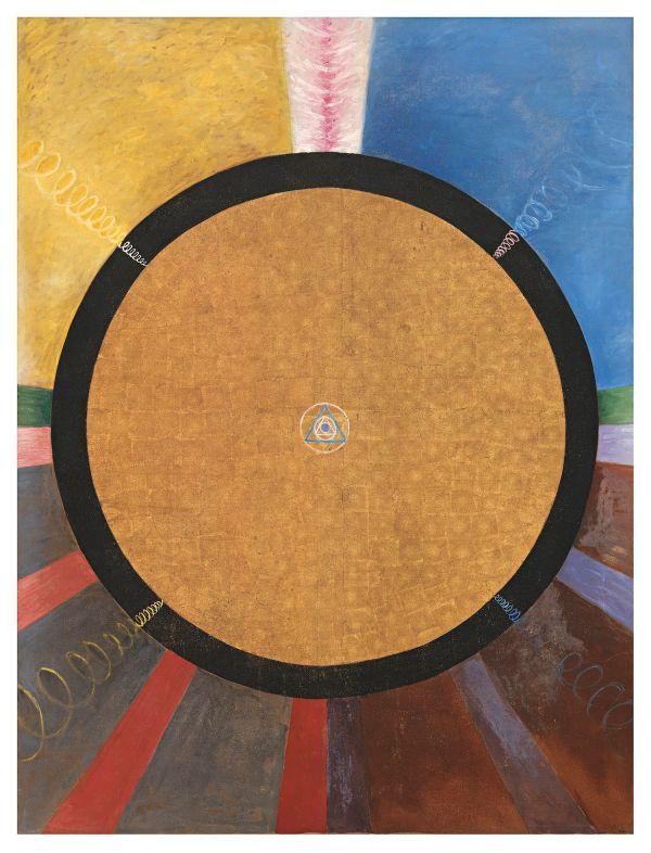 Group X, No. 3. Altarpiece, 1915; Oil and metal leaf on canvas, 237.5 x 178.5 cm; Courtesy of Stiftelsen Hilma af Klints Verk; Photo: Moderna Museet / Stockholm