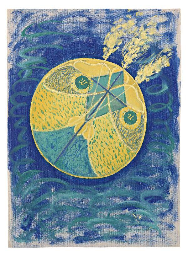 Group I, No. 7. Primordial Chaos, 1906-7; Oil on canvas, 53 × 37 cm; Courtesy of Stiftelsen Hilma af Klints Verk; Photo: Moderna Museet / Stockholm