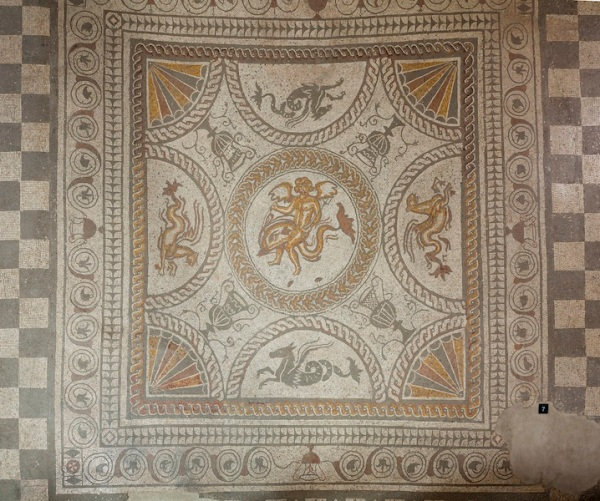 Cupid on a Dolphin mosaic at Fishbourne Roman Palace. Courtesy of Fishbourne Roman Palace / Sussex Archaeological Society