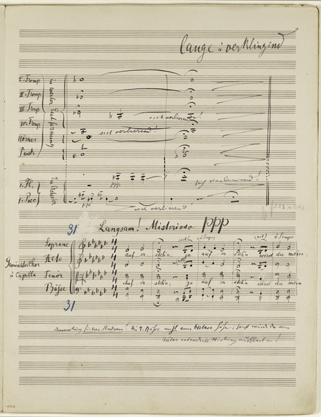 A PAGE FROM THE MANUSCRIPT OF THE FIFTH MOVEMENT OF MAHLER'S SYMPHONY NO. 2. PHOTO · © SOTHEBY'S
